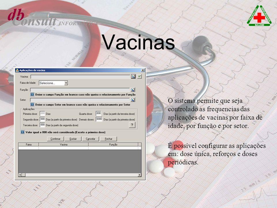 Vacinas O sistema permite que seja controlado as frequencias das aplicações de vacinas por faixa de idade, por função e por setor. É possível configur