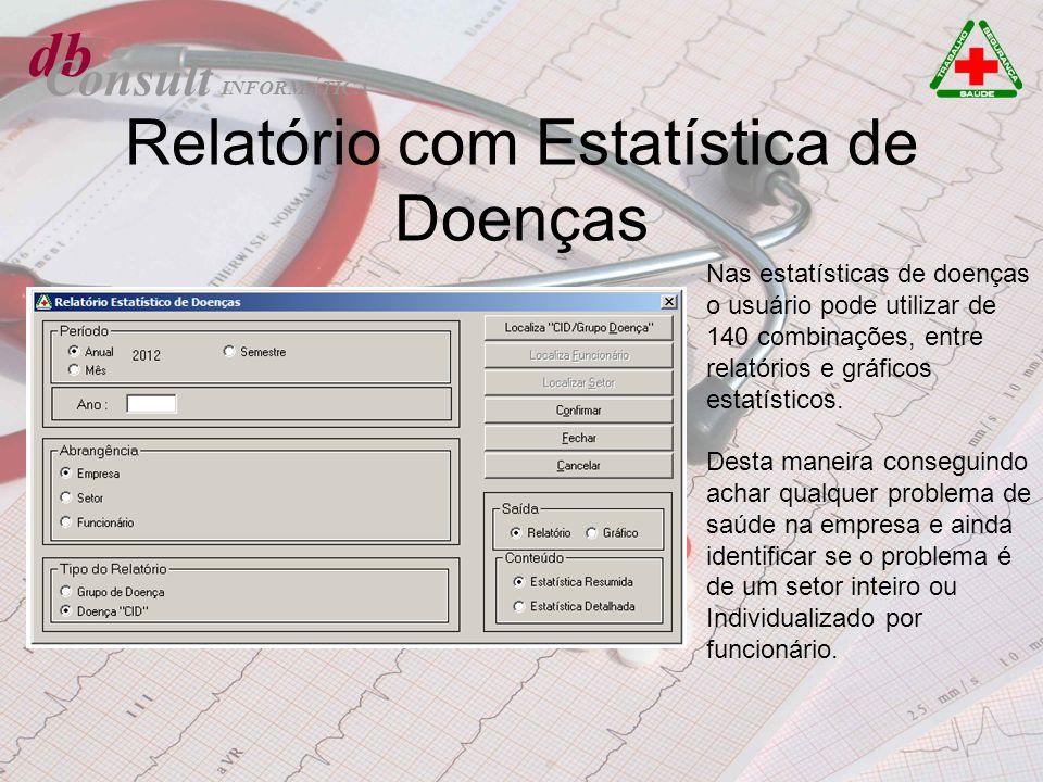 db Consult Relatório com Estatística de Doenças Nas estatísticas de doenças o usuário pode utilizar de 140 combinações, entre relatórios e gráficos es