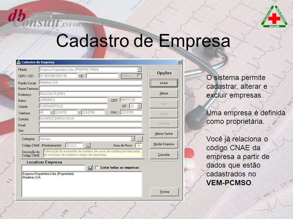 db Consult O sistema permite cadastrar, alterar e excluir empresas. Uma empresa é definida como proprietária. Você já relaciona o código CNAE da empre