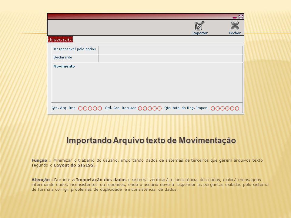Importando Arquivo texto de Movimentação Função : Função : Minimizar o trabalho do usuário, importando dados de sistemas de terceiros que gerem arquiv