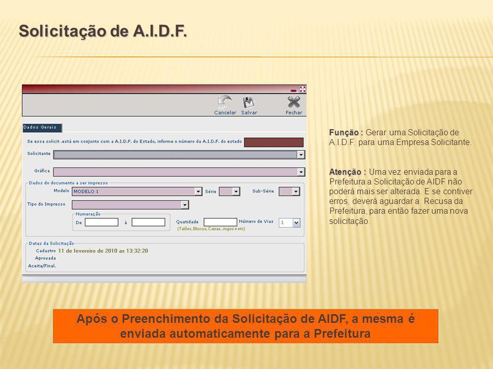 Função : Função : Gerar uma Solicitação de A.I.D.F. para uma Empresa Solicitante. Atenção : Atenção : Uma vez enviada para a Prefeitura a Solicitação