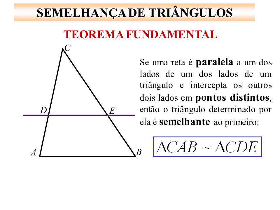 SEMELHANÇA DE TRIÂNGULOS ângulos congruentes * Os três ângulos internos são ordenadamente congruentes.