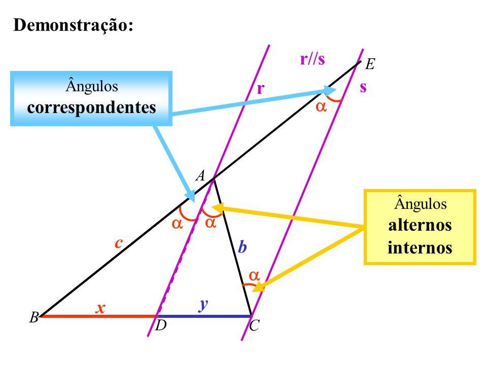 TEOREMA DA BISSETRIZ INTERNA Uma bissetriz interna de um triângulo divide o lado oposto em segmentos proporcionais aos lados adjacentes: A B C c b D x y