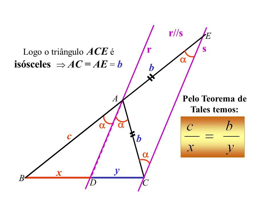 A B C c b D x y r s Ângulos alternos internos Ângulos correspondentes r//s E Demonstração:
