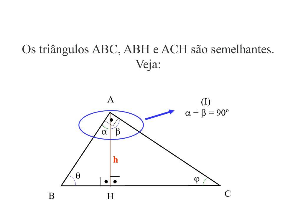 B H A A altura h divide o triângulo ABC em dois triângulos retângulos, ABH e ACH. A B H C h HC A