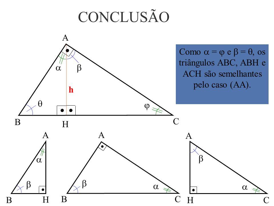(III) + + 90º = 180º + = 90º Comparando (I) e (III), tem-se: + = + =. Portanto, =. (I) + = 90º