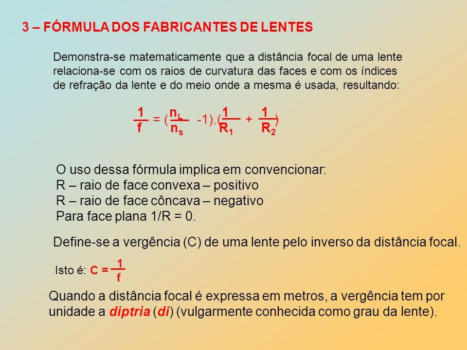 4 – REFRAÇÃO DE RAIOS LUMINOSOS NAS LENTES 4.1 – lentes convergentes F F C Raio incidente paralelo ao eixo é refratado passando pelo foco.