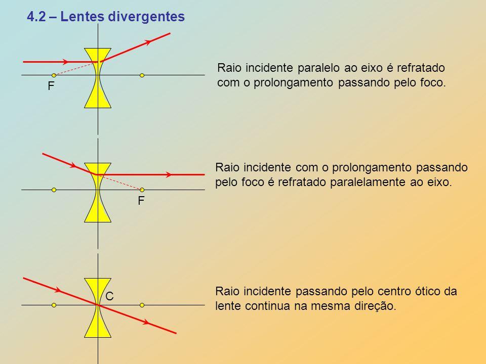 4.2 – Lentes divergentes F F C Raio incidente paralelo ao eixo é refratado com o prolongamento passando pelo foco. Raio incidente com o prolongamento