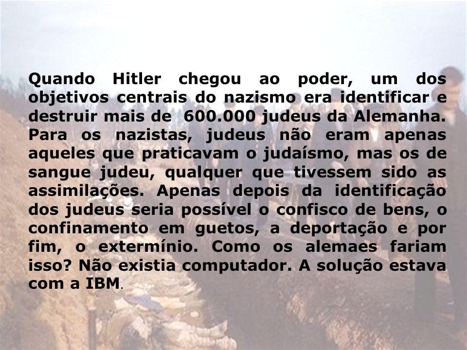 Quando Hitler chegou ao poder, um dos objetivos centrais do nazismo era identificar e destruir mais de 600.000 judeus da Alemanha. Para os nazistas, j