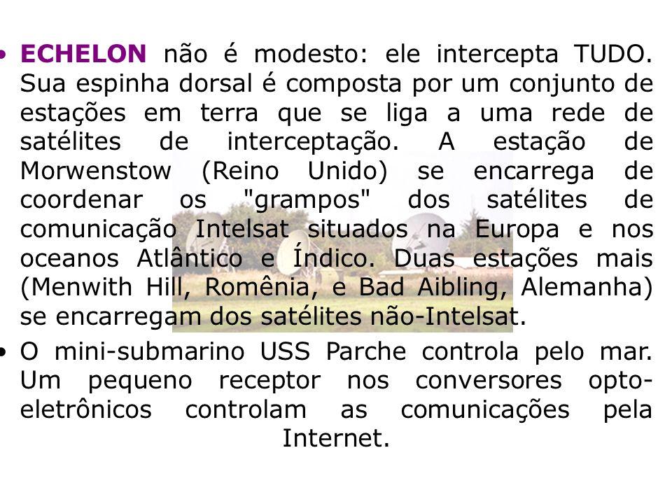 ECHELON não é modesto: ele intercepta TUDO. Sua espinha dorsal é composta por um conjunto de estações em terra que se liga a uma rede de satélites de