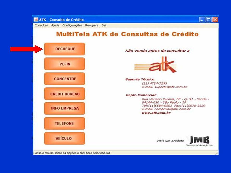 Ticket Médio = R$ 120,00 X 300 vendas = R$ 36.000,00 Custo unitário da consulta = R$ 0,55 X 300 consultas = R$ 165,00 Total de Vendas Mensais com Cheques = R$ 36.000,00 R$ 3.099,60 O investimento de apenas R$ 165,00/mês evita prejuízo da ordem de R$ 3.099,60 no mesmo período.