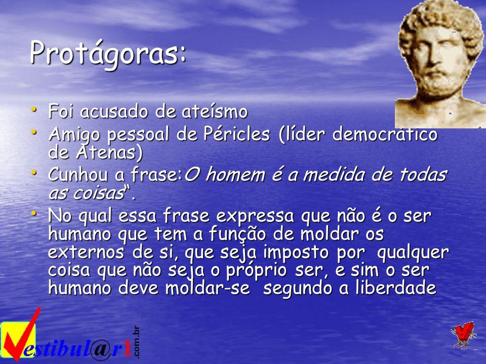 Protágoras: Foi acusado de ateísmo Foi acusado de ateísmo Amigo pessoal de Péricles (líder democrático de Atenas) Amigo pessoal de Péricles (líder dem