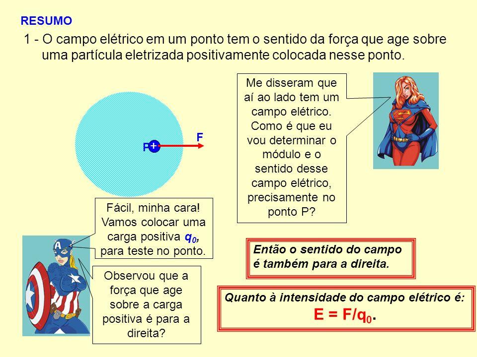 RESUMO 1 - O campo elétrico em um ponto tem o sentido da força que age sobre uma partícula eletrizada positivamente colocada nesse ponto. P Me dissera