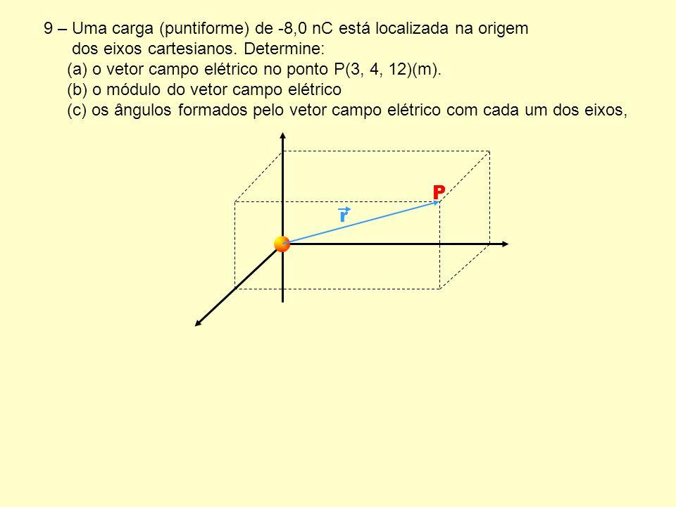 9 – Uma carga (puntiforme) de -8,0 nC está localizada na origem dos eixos cartesianos. Determine: (a) o vetor campo elétrico no ponto P(3, 4, 12)(m).