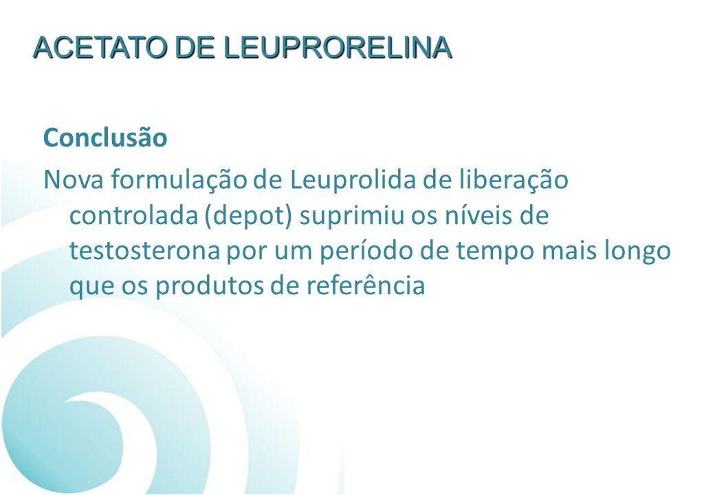 Conclusão Nova formulação de Leuprolida de liberação controlada (depot) suprimiu os níveis de testosterona por um período de tempo mais longo que os p