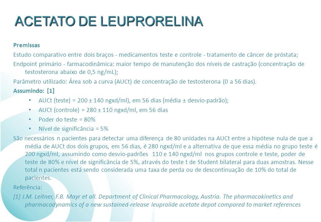 Premissas Estudo comparativo entre dois braços - medicamentos teste e controle - tratamento de câncer de próstata; Endpoint primário - farmacodinâmica