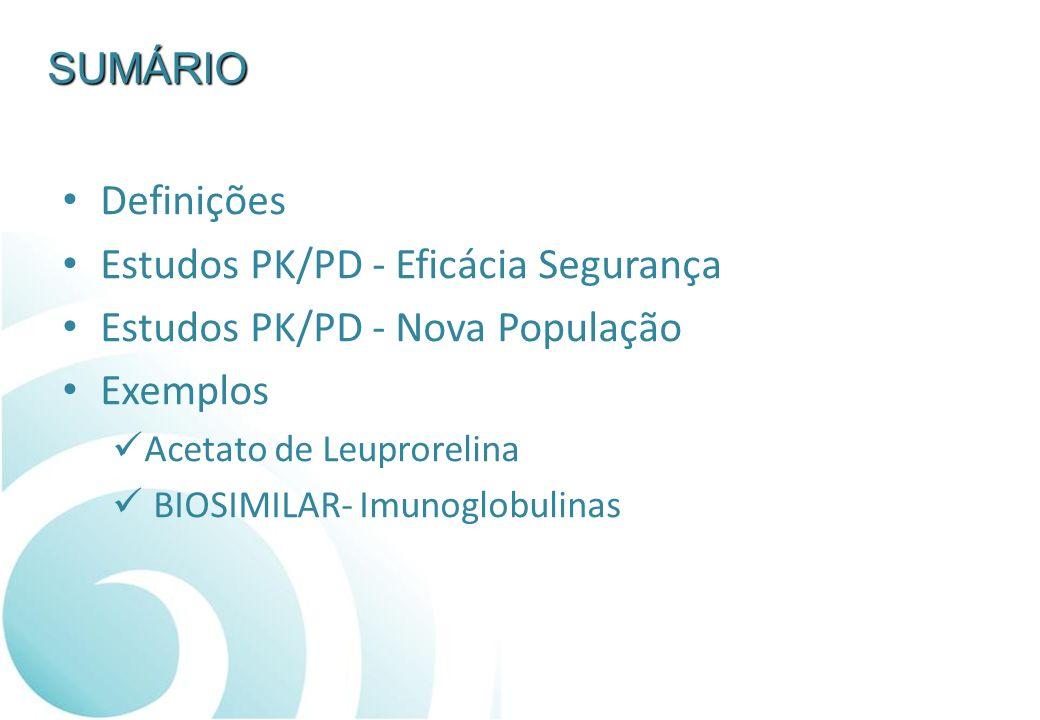 SUMÁRIO Definições Estudos PK/PD - Eficácia Segurança Estudos PK/PD - Nova População Exemplos Acetato de Leuprorelina BIOSIMILAR- Imunoglobulinas