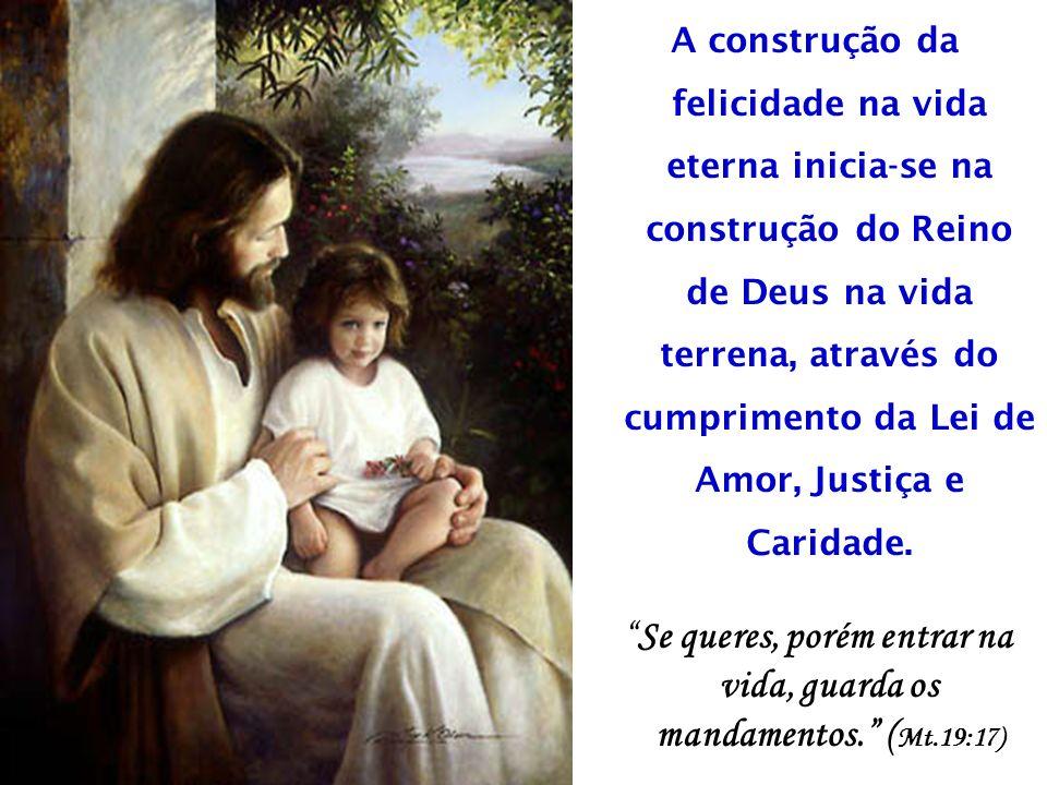 A construção da felicidade na vida eterna inicia-se na construção do Reino de Deus na vida terrena, através do cumprimento da Lei de Amor, Justiça e Caridade.