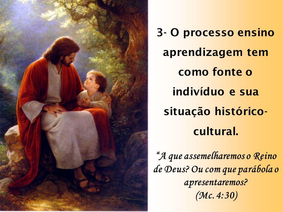 3- O processo ensino aprendizagem tem como fonte o indivíduo e sua situação histórico- cultural.