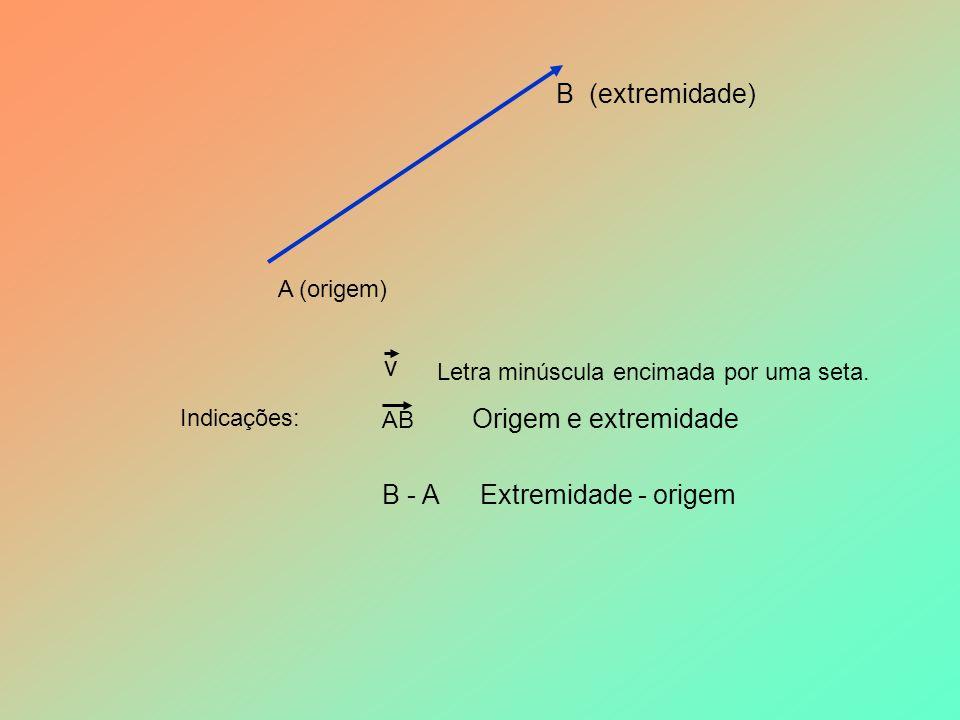 A (origem) B (extremidade) v Indicações: Letra minúscula encimada por uma seta.