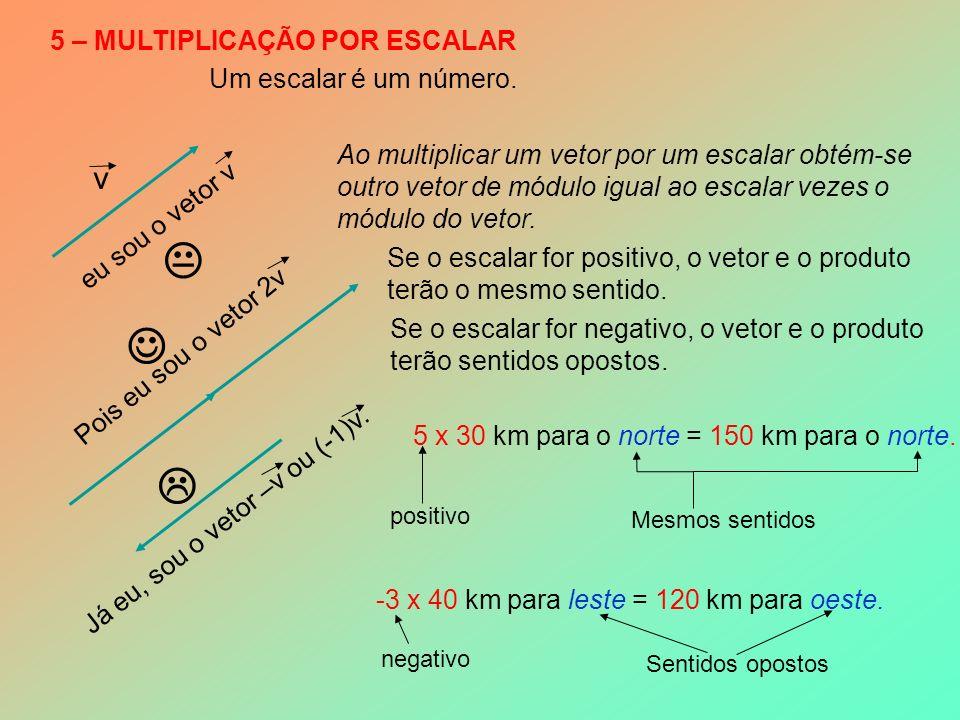 5 – MULTIPLICAÇÃO POR ESCALAR v eu sou o vetor v Um escalar é um número.