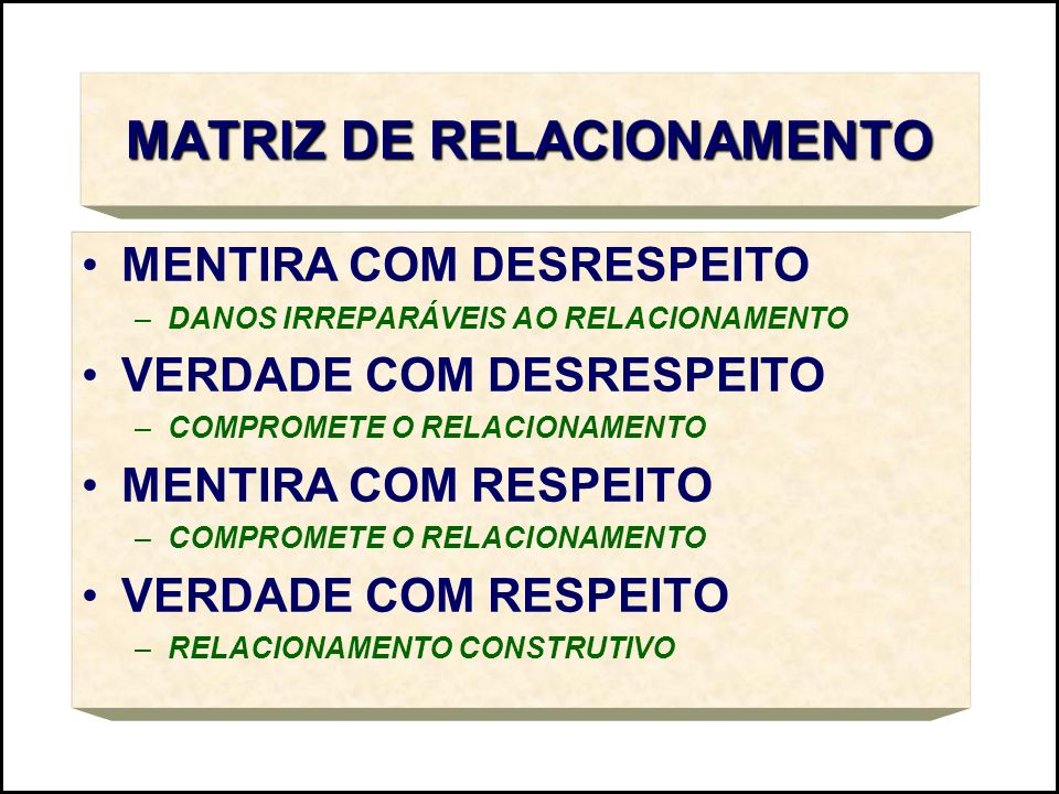 MATRIZ DE RELACIONAMENTO MENTIRA COM DESRESPEITO –DANOS IRREPARÁVEIS AO RELACIONAMENTO VERDADE COM DESRESPEITO –COMPROMETE O RELACIONAMENTO MENTIRA CO