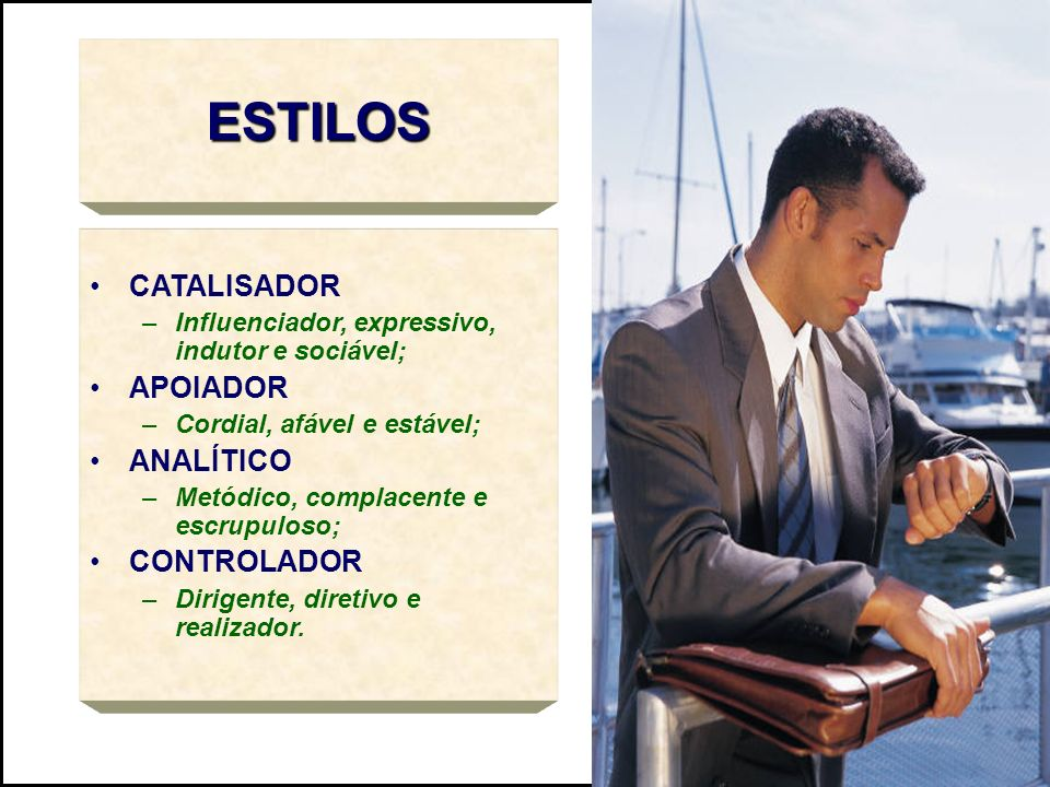 ESTILOS CATALISADOR –Influenciador, expressivo, indutor e sociável; APOIADOR –Cordial, afável e estável; ANALÍTICO –Metódico, complacente e escrupulos