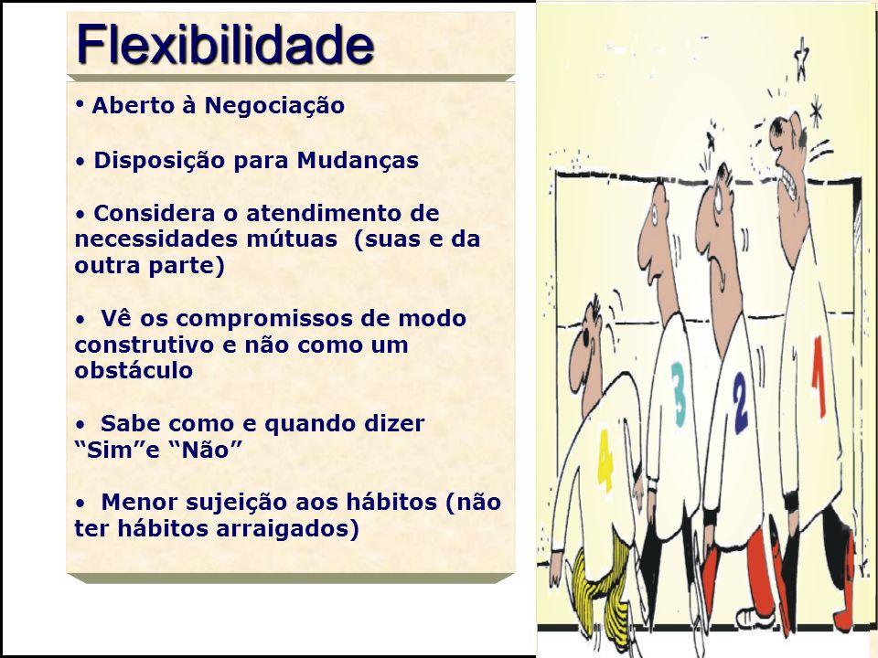 Flexibilidade Aberto à Negociação Disposição para Mudanças Considera o atendimento de necessidades mútuas (suas e da outra parte) Vê os compromissos d