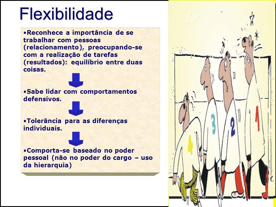 Flexibilidade Reconhece a importância de se trabalhar com pessoas (relacionamento), preocupando-se com a realização de tarefas (resultados): equilíbri