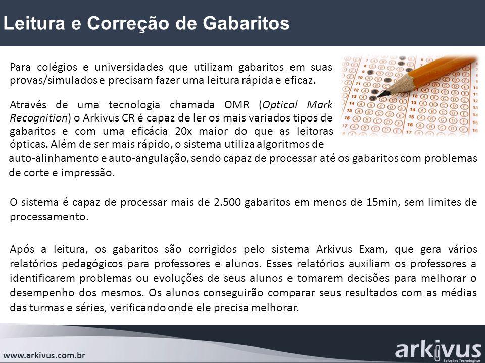 Leitura e Correção de Gabaritos www.arkivus.com.br Para colégios e universidades que utilizam gabaritos em suas provas/simulados e precisam fazer uma