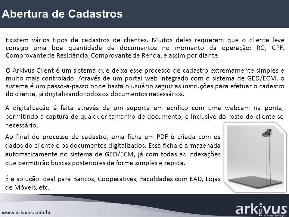 Abertura de Cadastros www.arkivus.com.br Existem vários tipos de cadastros de clientes. Muitos deles requerem que o cliente leve consigo uma boa quant
