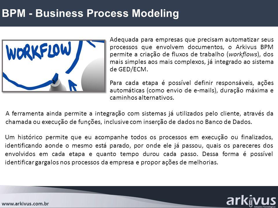 BPM - Business Process Modeling www.arkivus.com.br Adequada para empresas que precisam automatizar seus processos que envolvem documentos, o Arkivus BPM permite a criação de fluxos de trabalho (workflows), dos mais simples aos mais complexos, já integrado ao sistema de GED/ECM.