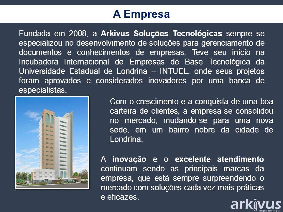 A Empresa Fundada em 2008, a Arkivus Soluções Tecnológicas sempre se especializou no desenvolvimento de soluções para gerenciamento de documentos e co