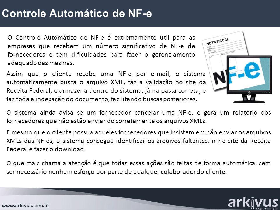 Controle Automático de NF-e www.arkivus.com.br O Controle Automático de NF-e é extremamente útil para as empresas que recebem um número significativo