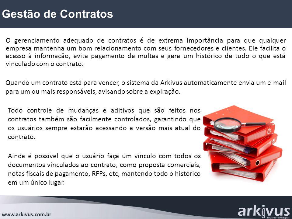 Gestão de Contratos www.arkivus.com.br O gerenciamento adequado de contratos é de extrema importância para que qualquer empresa mantenha um bom relaci