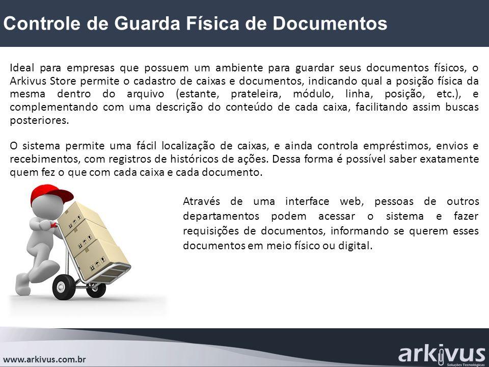 Controle de Guarda Física de Documentos www.arkivus.com.br Ideal para empresas que possuem um ambiente para guardar seus documentos físicos, o Arkivus