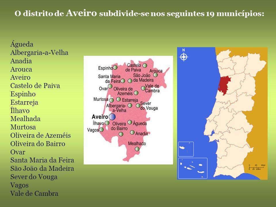 Aveiro, conhecida como a Veneza portuguesa Cidade situada na foz do rio Vouga. É porto lagunar e marítimo, em comunicação com a Ria a que dá nome. As