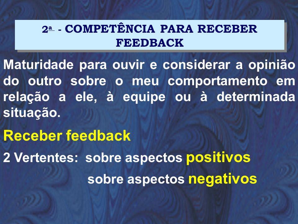 Maturidade para ouvir e considerar a opinião do outro sobre o meu comportamento em relação a ele, à equipe ou à determinada situação. Receber feedback