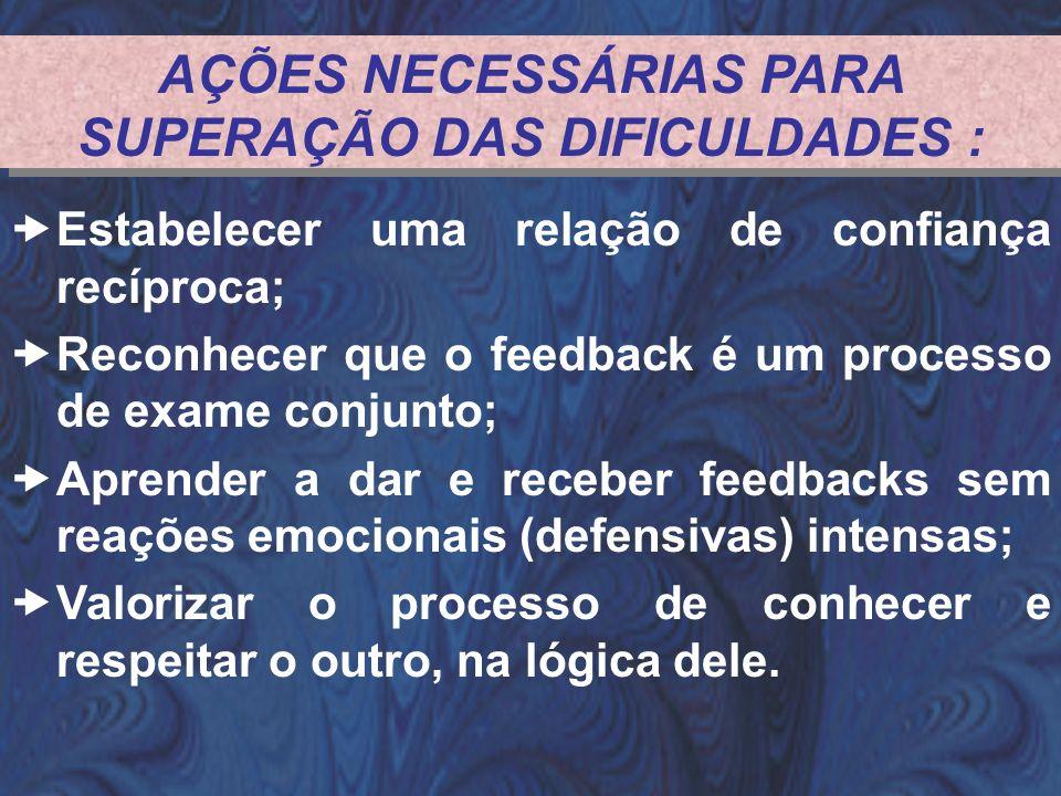 AÇÕES NECESSÁRIAS PARA SUPERAÇÃO DAS DIFICULDADES : Estabelecer uma relação de confiança recíproca; Reconhecer que o feedback é um processo de exame c