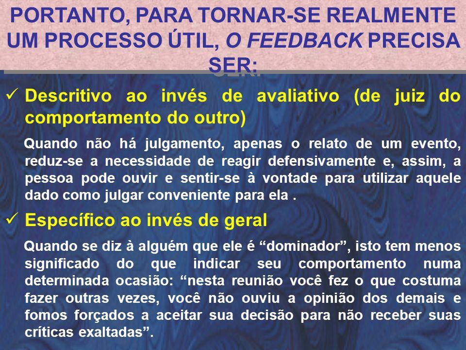 PORTANTO, PARA TORNAR-SE REALMENTE UM PROCESSO ÚTIL, O FEEDBACK PRECISA SER: Descritivo ao invés de avaliativo (de juiz do comportamento do outro) Qua