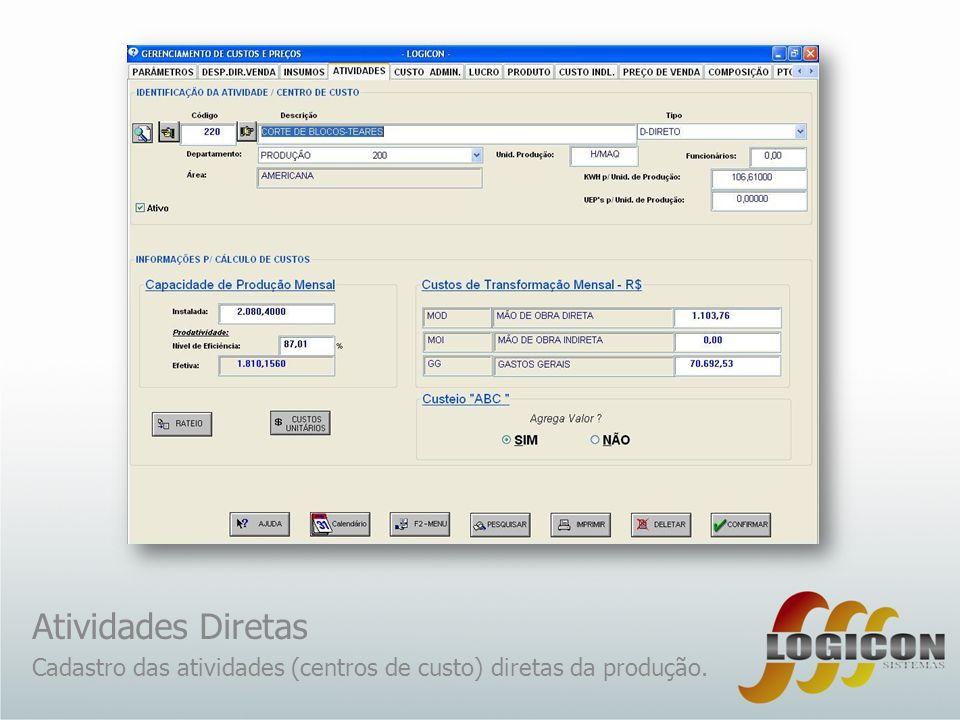 Atividades Diretas Cadastro das atividades (centros de custo) diretas da produção.