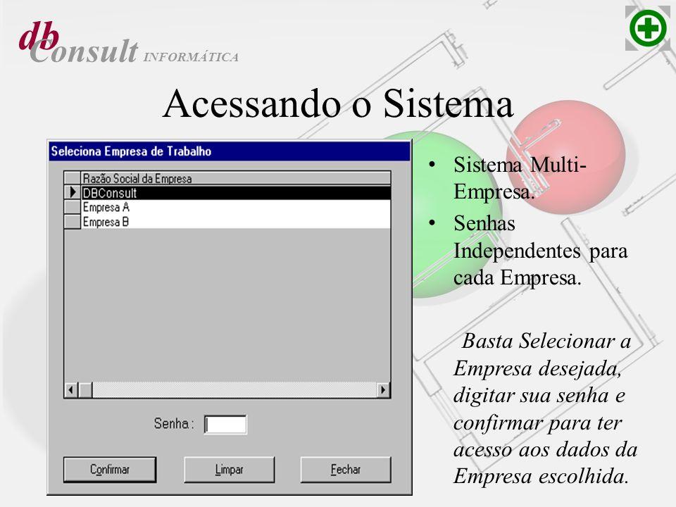 db Consult Acessando o Sistema Sistema Multi- Empresa. Senhas Independentes para cada Empresa. Basta Selecionar a Empresa desejada, digitar sua senha