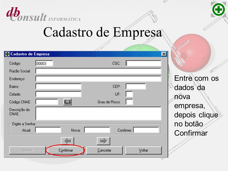 db Consult Cadastro de Empresa Entre com os dados da nova empresa, depois clique no botão Confirmar INFORMÁTICA