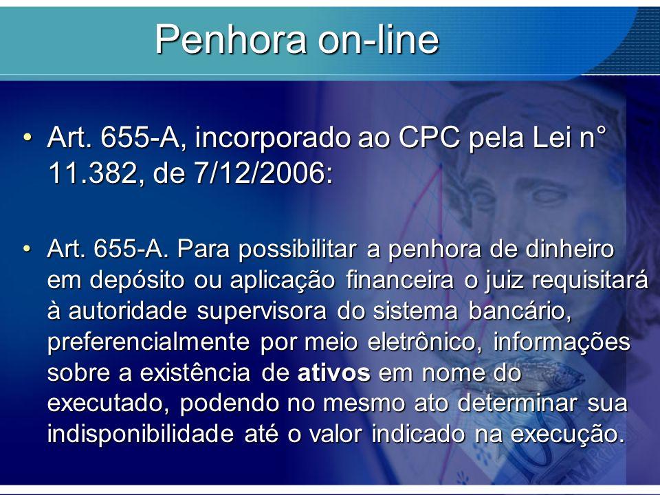 Penhora on-line Art. 655-A, incorporado ao CPC pela Lei n° 11.382, de 7/12/2006:Art. 655-A, incorporado ao CPC pela Lei n° 11.382, de 7/12/2006: Art.