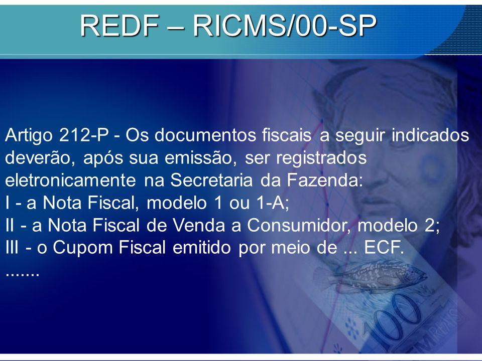 REDF – RICMS/00-SP Artigo 212-P - Os documentos fiscais a seguir indicados deverão, após sua emissão, ser registrados eletronicamente na Secretaria da