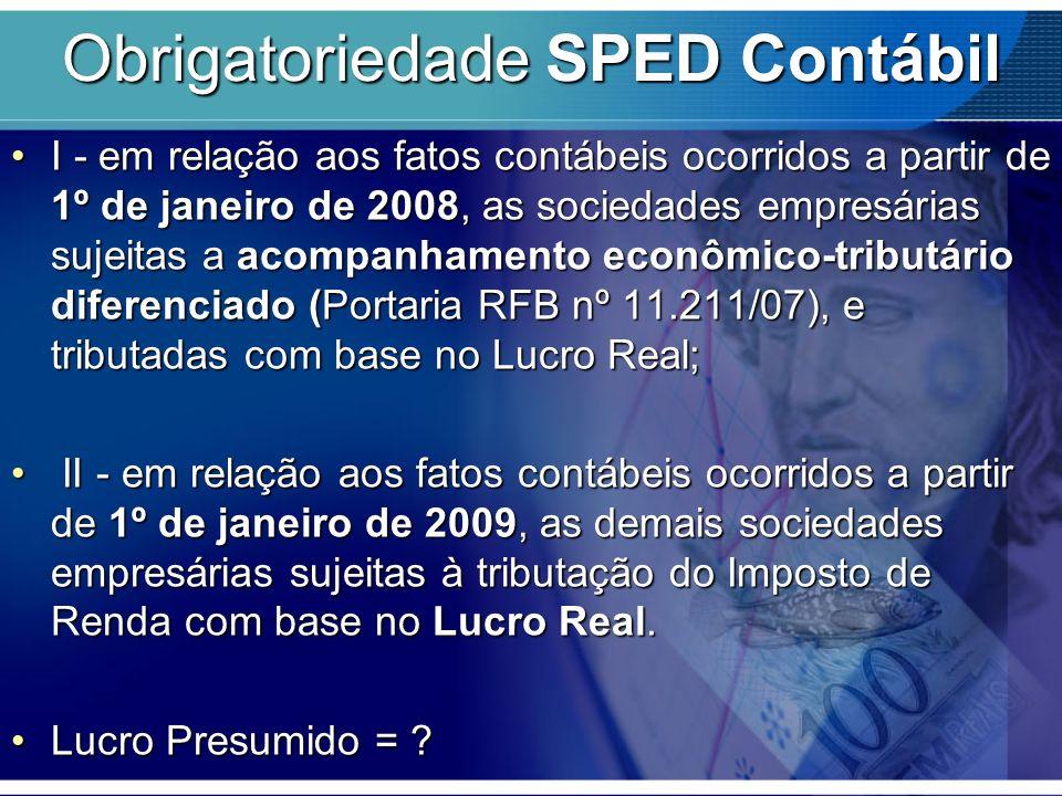 Obrigatoriedade SPED Contábil I - em relação aos fatos contábeis ocorridos a partir de 1º de janeiro de 2008, as sociedades empresárias sujeitas a aco