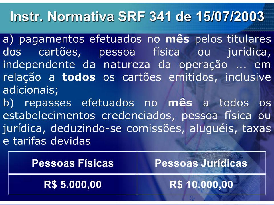Instr. Normativa SRF 341 de 15/07/2003 a) pagamentos efetuados no mês pelos titulares dos cartões, pessoa física ou jurídica, independente da natureza