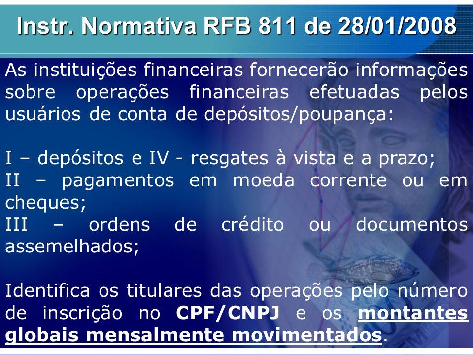 Instr. Normativa RFB 811 de 28/01/2008 As instituições financeiras fornecerão informações sobre operações financeiras efetuadas pelos usuários de cont