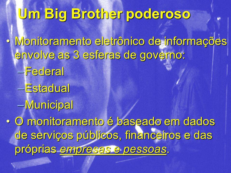 Um Big Brother poderoso Monitoramento eletrônico de informações envolve as 3 esferas de governo:Monitoramento eletrônico de informações envolve as 3 e