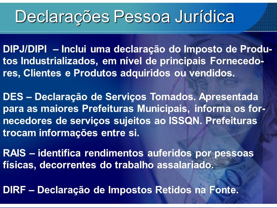 Declarações Pessoa Jurídica DIPJ/DIPI – Inclui uma declaração do Imposto de Produ- tos Industrializados, em nível de principais Fornecedo- res, Client